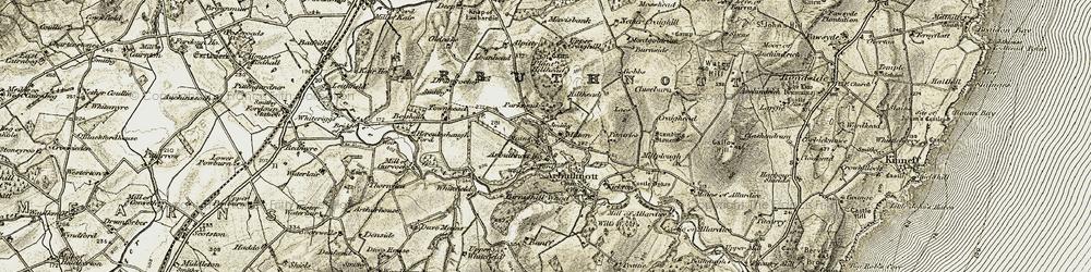Old map of Arbuthnott Ho in 1908-1909