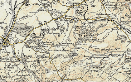 Old map of Archenfield in 1900-1902