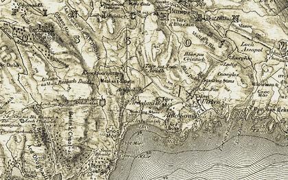 Old map of Allt an Leth-ghlinne in 1906-1907