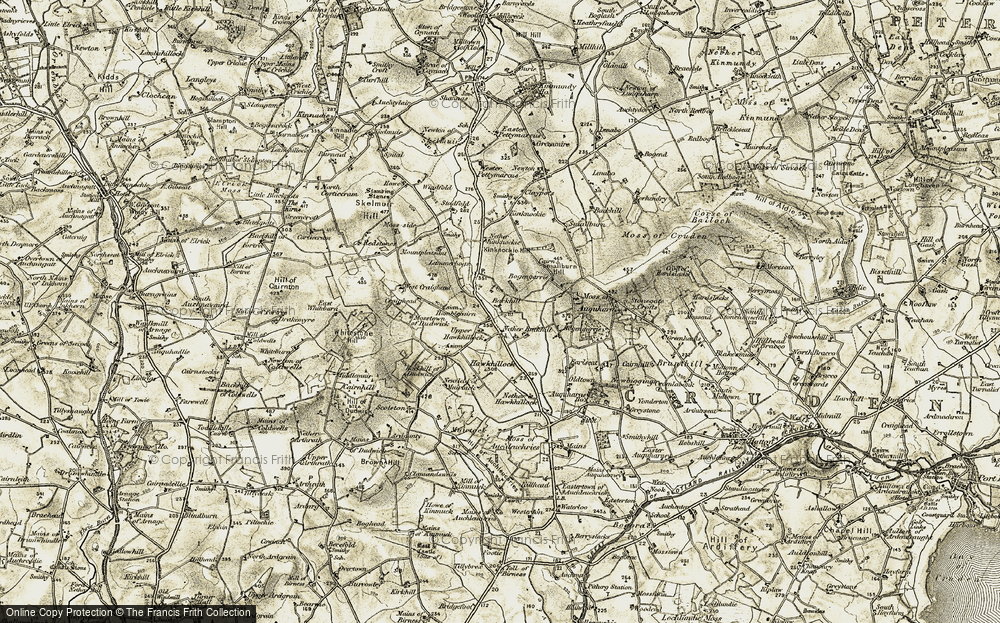 Old Map of Historic Map covering Auquharney Ho in 1909-1910