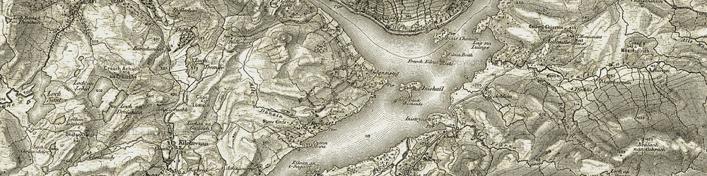 Old map of Ardanaiseig in 1906-1907