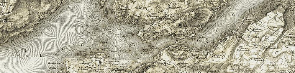 Old map of Ardaneaskan in 1908-1909