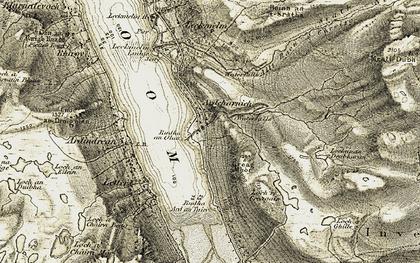 Old map of Allt Raon a' Chroisg in 1908-1912