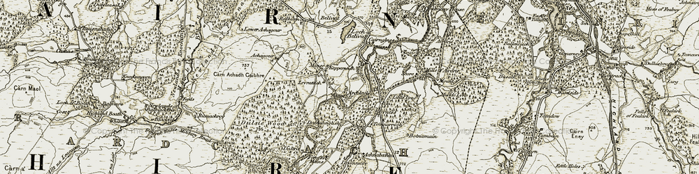 Old map of Ardclach in 1908-1911