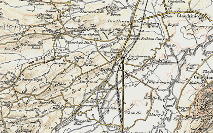 Old map of Arddleen in 1902-1903