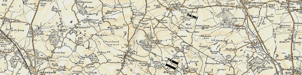 Old map of Ardeley Bury in 1898-1899