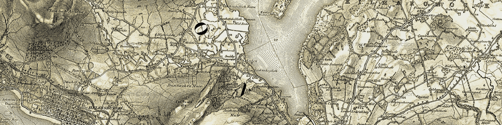 Old map of Wester Auchendennan in 1905-1907