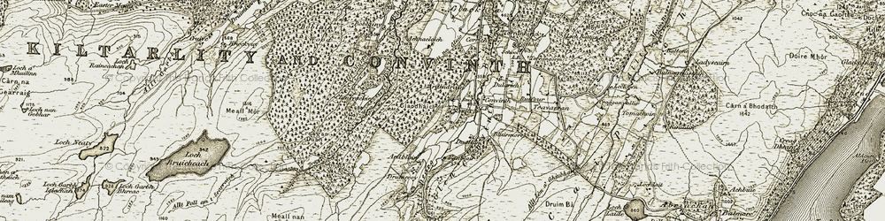 Old map of Allt Martuin in 1908-1912