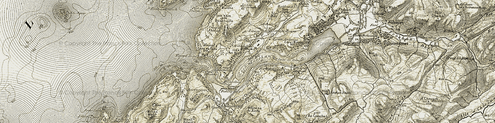 Old map of Àird na Cùile in 1906-1907