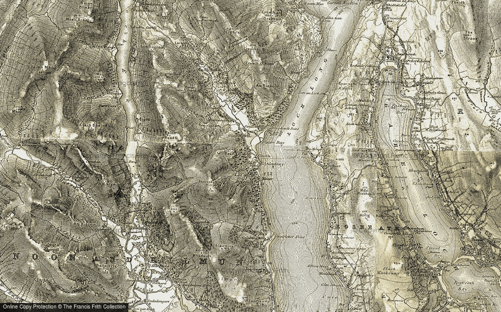 Old Map of Historic Map covering Allt Coille Mheadhanaich in 1905-1907