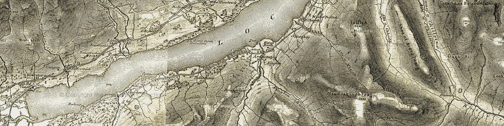 Old map of Allt Meall nan Damh in 1906-1908