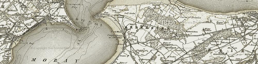 Old map of Ardersier in 1911-1912