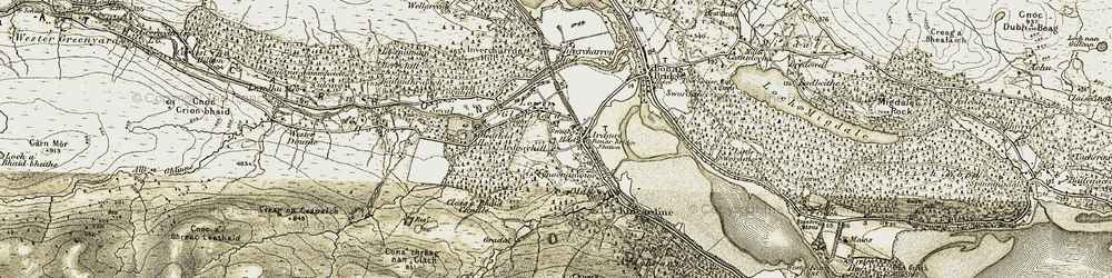 Old map of Ardgayhill in 1911-1912