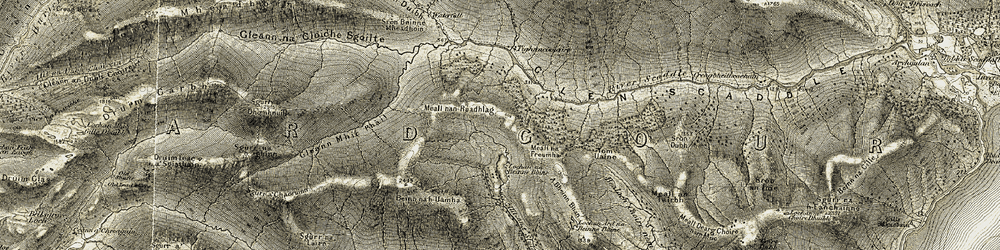 Old map of Tighnacomaire in 1906-1908