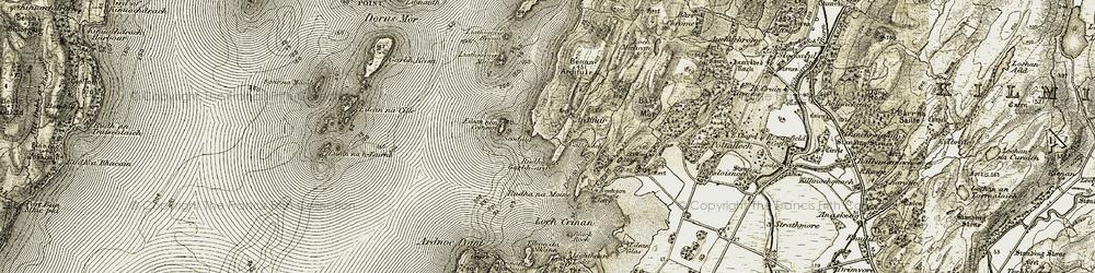 Old map of Ardifuir in 1906-1907