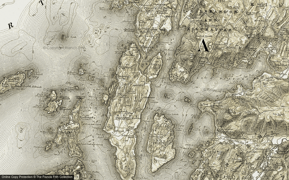 Old Map of Historic Map covering Achafolla in 1906-1907