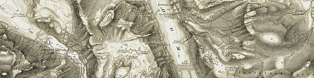 Old map of Ardindrean in 1908-1912
