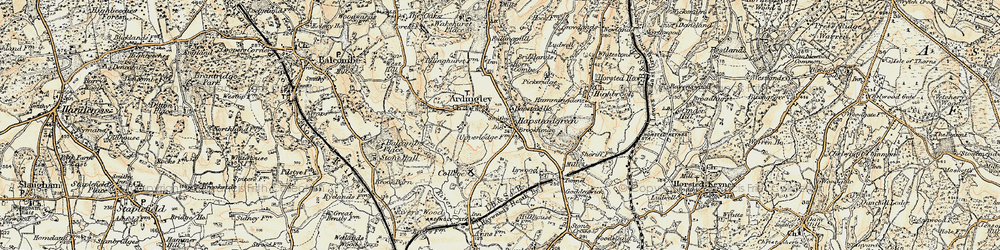 Old map of Ardingly in 1898