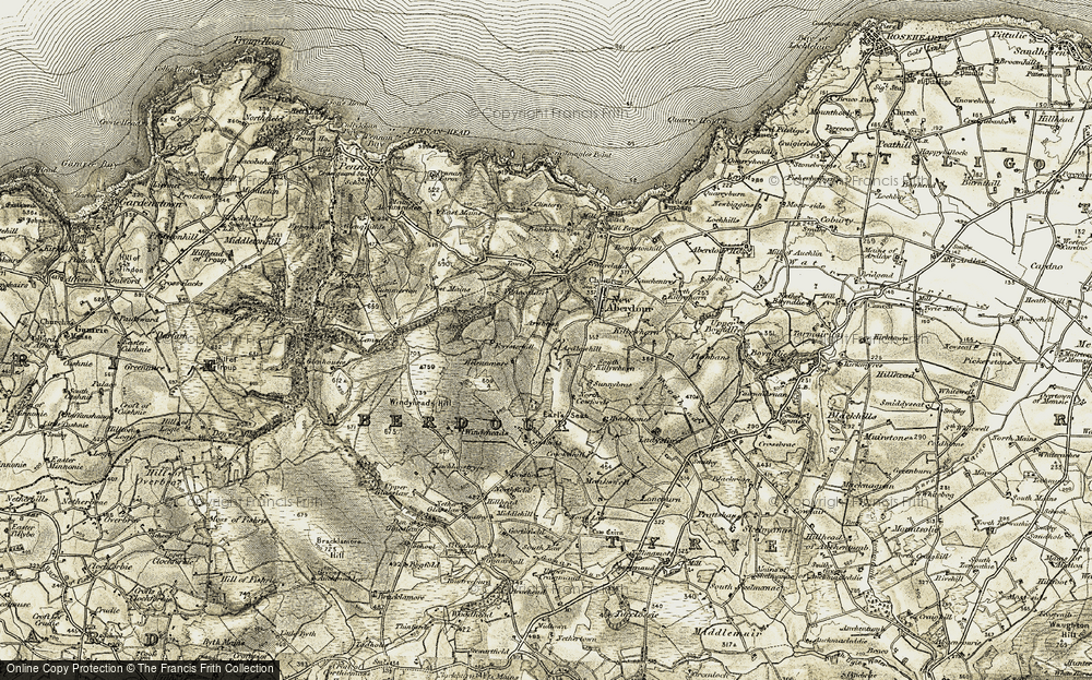 Old Map of Historic Map covering Lemnas in 1909-1910