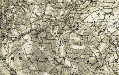 Old map of Windyheads Hill in 1909-1910