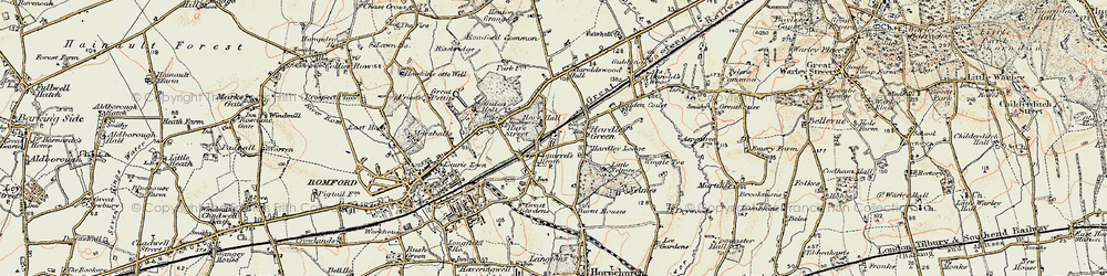 Old map of Ardleigh Green in 1898