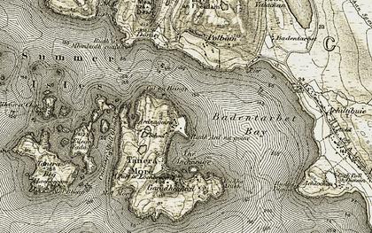 Old map of Badentarbat Bay in 1909-1910