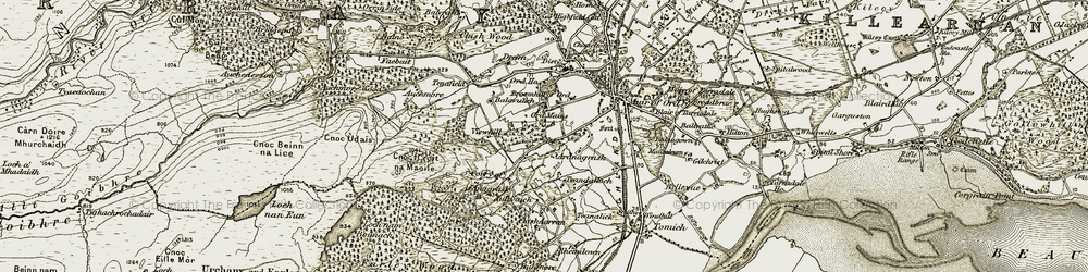 Old map of Ardnagrask in 1911-1912