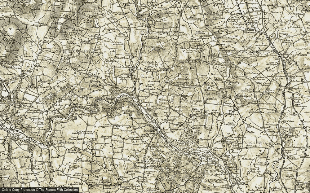 Old Map of Historic Map covering Wood of Wardford in 1909-1910