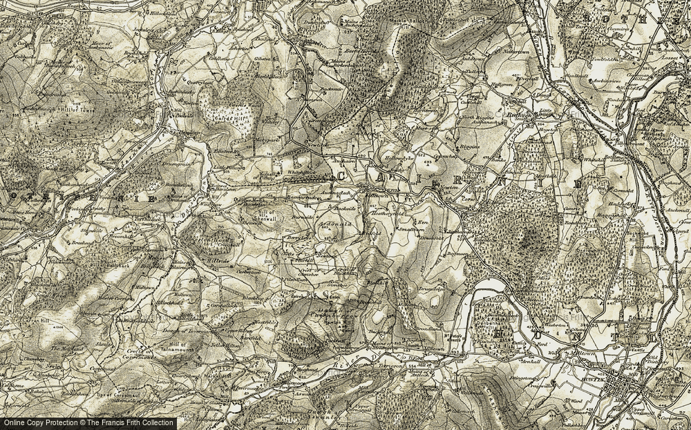 Old Map of Historic Map covering Auchnaclach in 1908-1910
