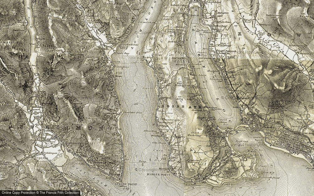 Old Map of Historic Map covering Auchengower in 1905-1907