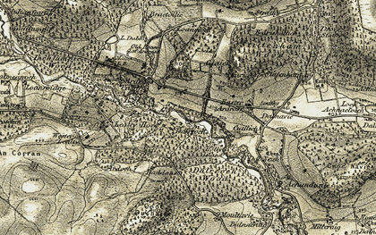Old map of Alness River in 1911-1912