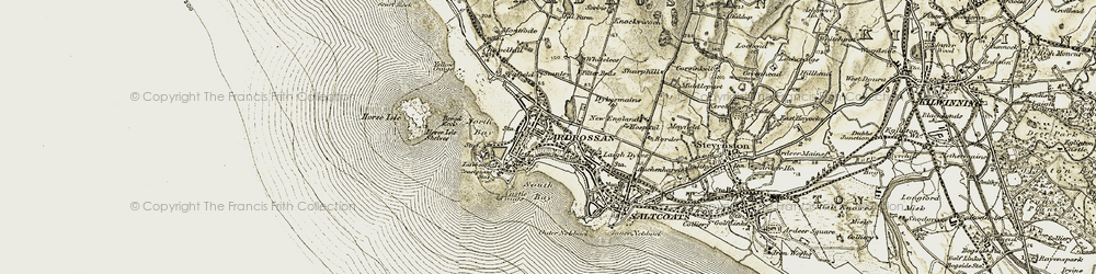 Old map of Whitlees in 1905-1906