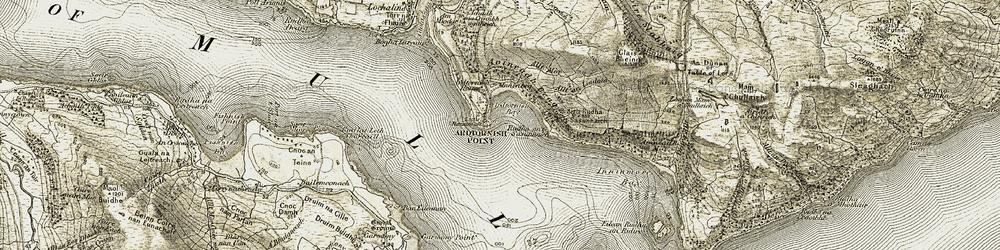 Old map of Allt Samhnachain in 1907-1908