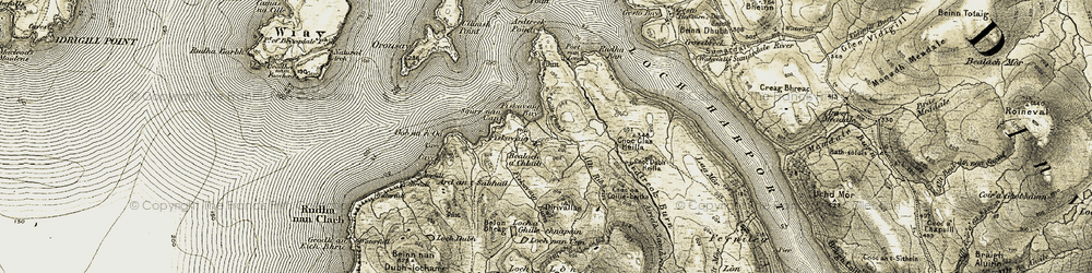 Old map of Ardtreck in 1908-1909