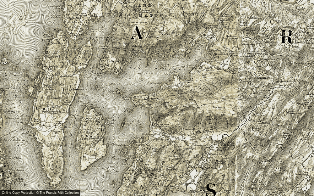 Old Map of Historic Map covering Asknish Bay in 1906-1907