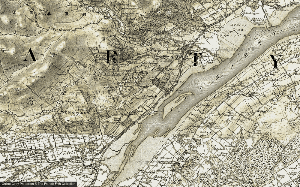 Old Map of Historic Map covering Ballachladdich in 1911-1912
