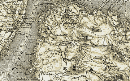 Old map of Allt Linne nan Ribheid in 1906-1907