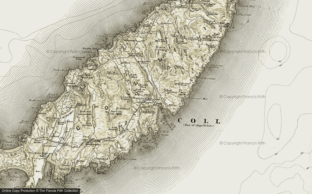 Old Map of Historic Map covering Airidh Mhaoraich in 1906-1911