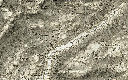 Old map of Allt mo Nionag in 1906-1908