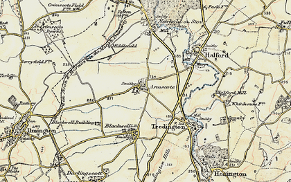 Old map of Armscote in 1899-1901