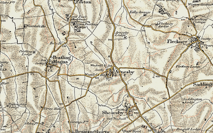 Old map of Arnesby in 1901-1902