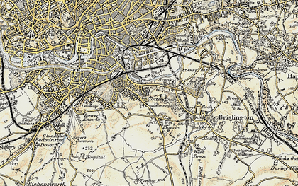 Old map of Arno's Vale in 1899