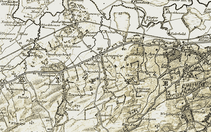 Old map of Lintmiln in 1904-1907