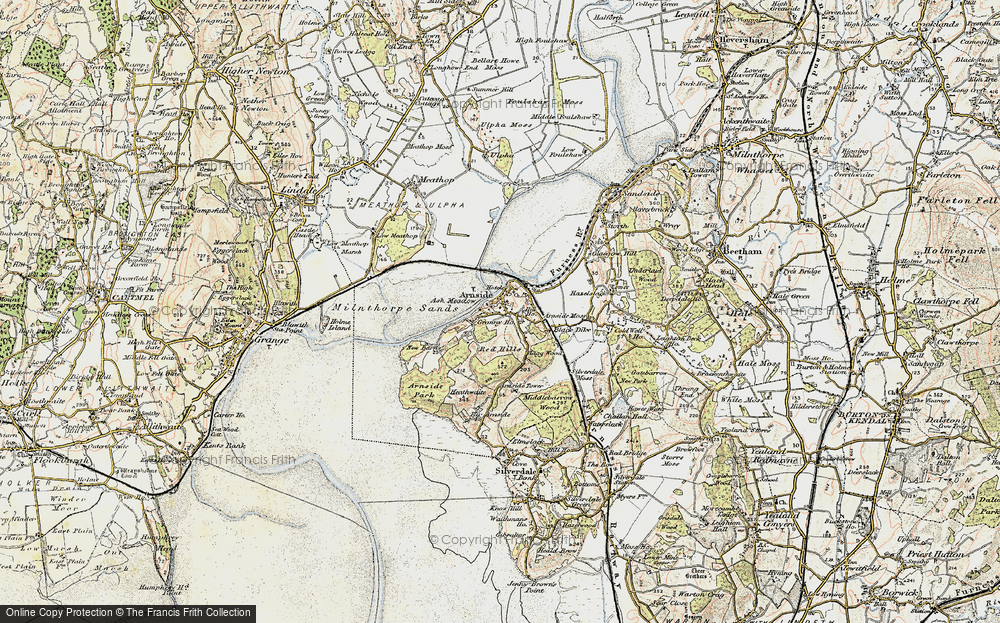 Old Map of Historic Map covering Ash Meadow in 1903-1904