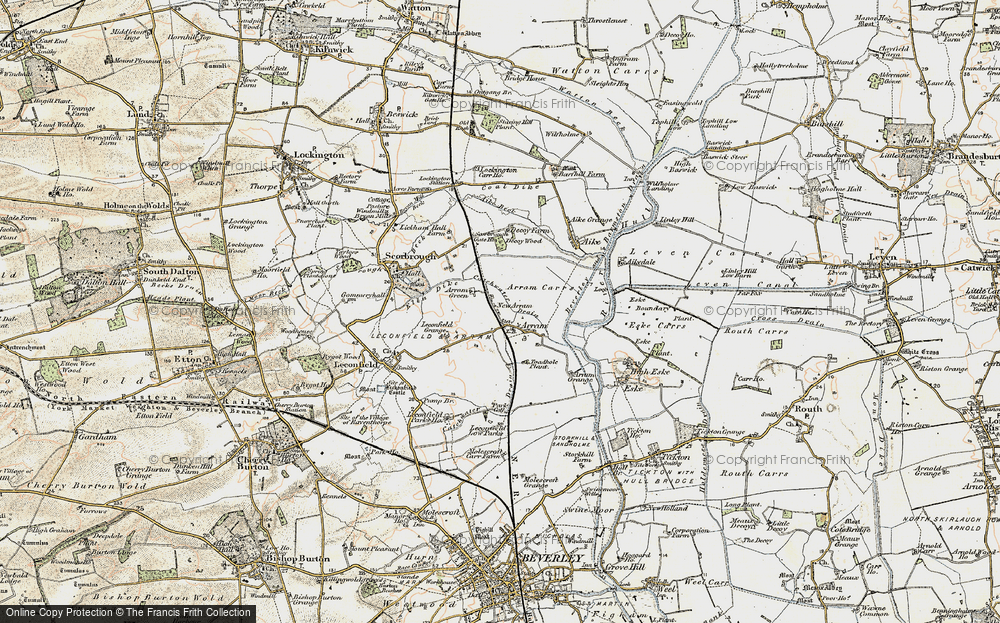 Old Map of Historic Map covering Leconfield Low Parks in 1903-1908