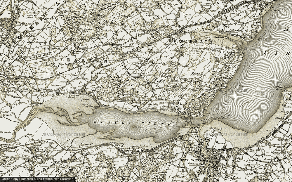 Old Map of Historic Map covering Allanglach in 1911-1912