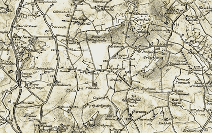 Old map of Tillydesk in 1909-1910