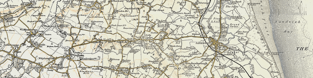 Old map of Ash in 1898-1899