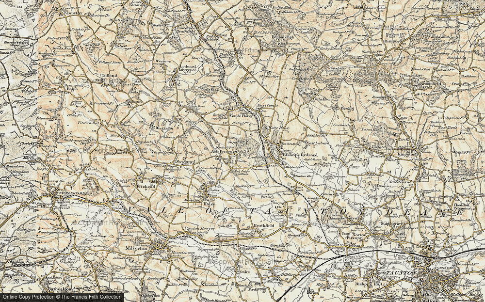 Old Map of Ash Priors, 1898-1900 in 1898-1900
