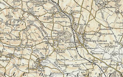 Old map of Ash Priors in 1898-1900